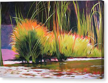 Water Garden Landscape 3 Canvas Print by Melody Cleary