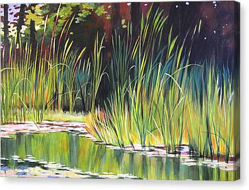 Water Garden Landscape II Canvas Print by Melody Cleary