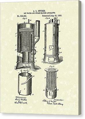 Water Heater 1893 Patent Art Canvas Print by Prior Art Design