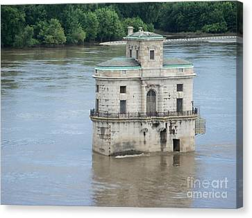 Canvas Print featuring the photograph Water House by Kelly Awad