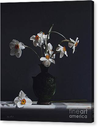 Water Jug With Narcissus   Canvas Print by Larry Preston
