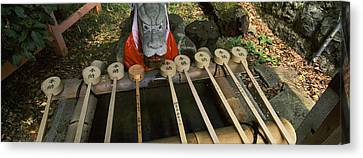 Water Ladles In A Shrine, Fushimi Canvas Print by Panoramic Images