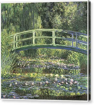 Water Lilies And Japanese Bridge Canvas Print by Claude Monet