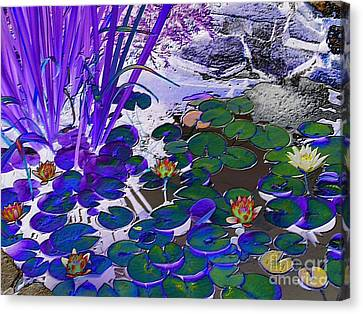 Water Lilies Blue Canvas Print by Margaret Newcomb