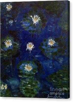 Canvas Print featuring the painting Water Lilies by Brindha Naveen