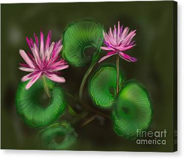 Canvas Print featuring the digital art Water Lilies by Christine Fournier