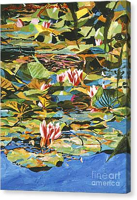 Water Lilies Giverny Canvas Print by David Lloyd Glover