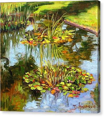 Water Lilies In California Canvas Print by Dominique Amendola