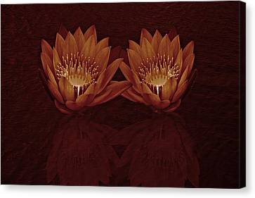 Canvas Print featuring the photograph Water Lilies In Deep Sepia by David Dehner