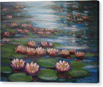 Canvas Print featuring the painting Water Lilies In Monet Garden by Laila Awad Jamaleldin