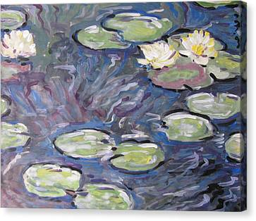Canvas Print featuring the painting Water Lilies by Vikram Singh