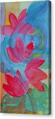 Water Lilies Water Swirls Version II Canvas Print by Claudia Smaletz