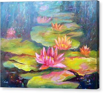 Water Lilly Pond Canvas Print by Carolyn Jarvis