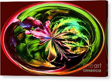 Water Lily Abstract Art Canvas Print by Annie Zeno