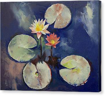 Water Lily Painting Canvas Print by Michael Creese
