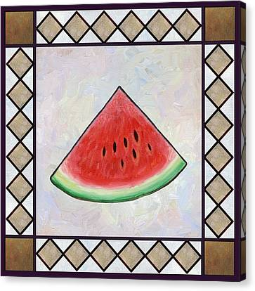 Water Melon Slice Canvas Print by Linda Mears