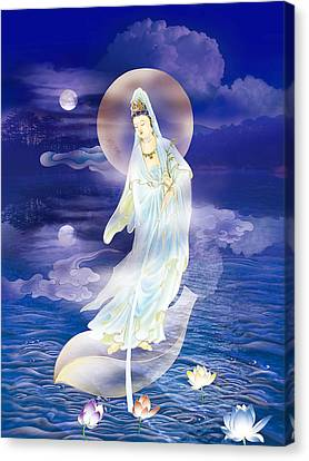 Mercy Canvas Print - Water Moon Avalokitesvara  by Lanjee Chee