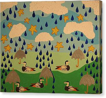 Canvas Print featuring the painting Water Off A Duck's Umbrella by Erika Chamberlin
