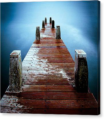 Water On The Jetty Canvas Print by Dave Bowman