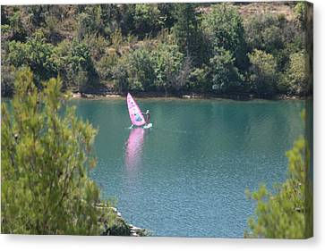 Pink Water Play Canvas Print by Phoenix De Vries