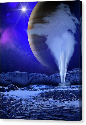Water Plume On Europa Canvas Print by Nasa/esa/k. Retherford/swri