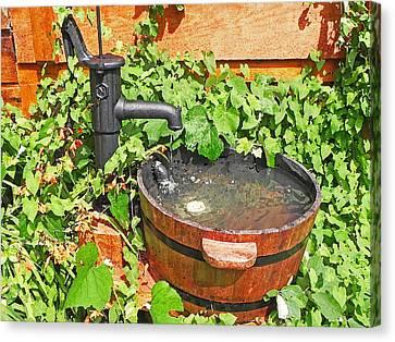 Water Pump And Rain Barrel Canvas Print by Anthony Dalton