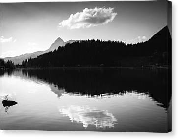 Canvas Print featuring the photograph Water Reflection Black And White by Matthias Hauser