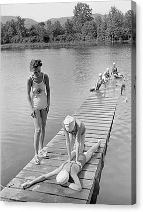 Water Safety At Camp Perkins Canvas Print