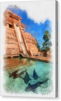 Water Slide At The Mayan Temple Atlantis Resort Canvas Print by Amy Cicconi