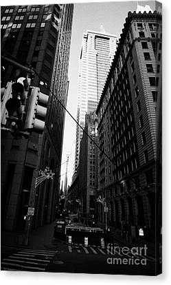 Water Street Entrance To Wall Street Junction Financial District New York City Usa Canvas Print by Joe Fox