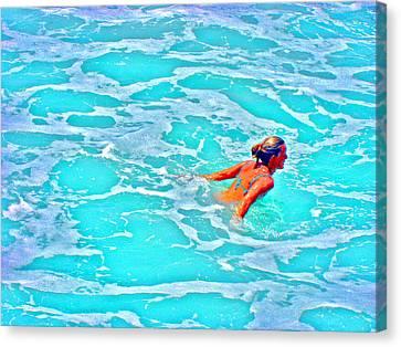 Water Textures. Art On Canary Islands. Atlantic Ocean. Tenerife. Playa De Las Americas. Wave.  Ebb A Canvas Print by Andy Za