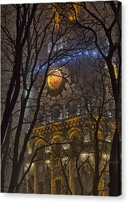 Water Tower At Night 1 Canvas Print by Zoriy Fine
