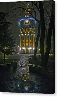 Water Tower At Night 2 Canvas Print by Zoriy Fine
