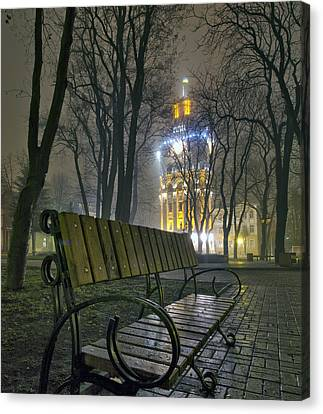 Water Tower At Night 3 Canvas Print by Zoriy Fine