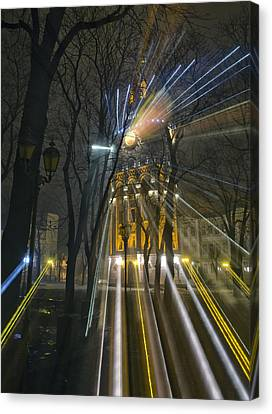 Water Tower At Night 4 Canvas Print by Zoriy Fine