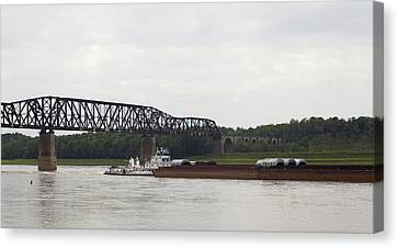 Canvas Print featuring the photograph Water Under The Bridge - Towboat On The Mississippi by Jane Eleanor Nicholas
