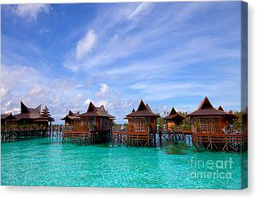 Water Village On Mabul Island Sipadan Borneo Malaysia Canvas Print by Fototrav Print