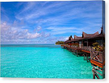 Exoticism Canvas Print - Water Village On Tropical Island by Fototrav Print