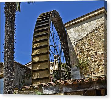 Canvas Print featuring the photograph Water Wheel At Moulin A Huile Michel by Allen Sheffield