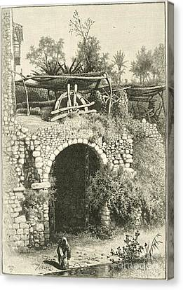 Water Wheel In Egypt, 1880s Canvas Print by Dorot Jewish Division