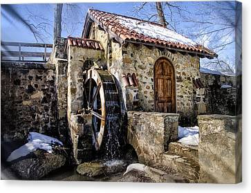 Radnor Canvas Print - Water Wheel Mill At Eastern College by Bill Cannon