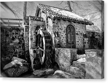 Radnor Canvas Print - Water Wheel Mill At Eastern College In Black And White by Bill Cannon