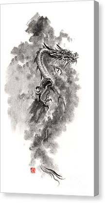 Blows Air Canvas Print - Water Wind Dragon Dragons Sumi-e Ink Painting Chinese Zodiac Five Elements Fantasy World Art by Mariusz Szmerdt