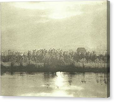 Water With Cornfield, Peter Henry Emerson Canvas Print
