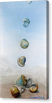 Canvas Print featuring the painting Watercolor Acorn Falls by Lenora  De Lude