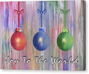 Canvas Print featuring the digital art Watercolor Christmas Bulbs by Arline Wagner