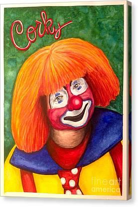 Watercolor Clown #18 Corky Dozier Canvas Print by Patty Vicknair