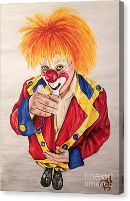Watercolor Clown #19 Misael Hernandez Canvas Print by Patty Vicknair