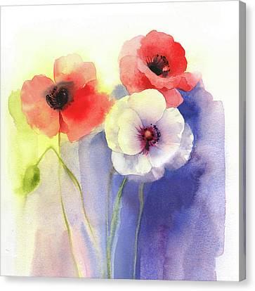 Watercolor Floral Canvas Print by P.s. Art Studios
