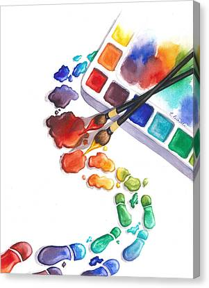 Pallet Canvas Print - Watercolor Footprints by Conni  Reinecke